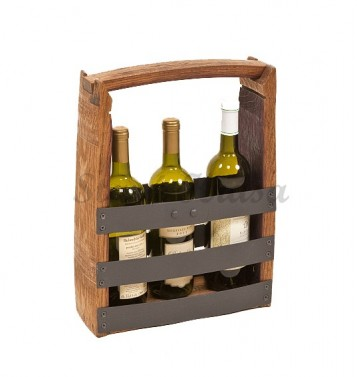 Kovodřevěný přenosný držák na víno.