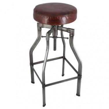Industriální barová židle s nastavitelnou výškou s koženým sedákem - 4 nohy