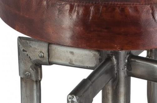Industriální barová židle s nastavitelnou výškou s koženým sedákem - 4 nohy - Detail