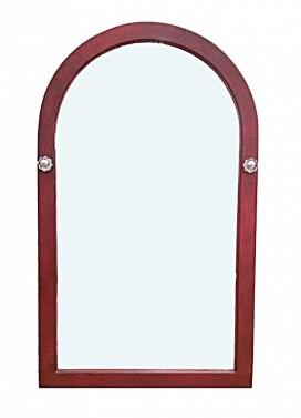 červené dřevěné zrcadlo s patinou
