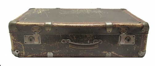 Starý originální retro kufr hnědé barvy č.2