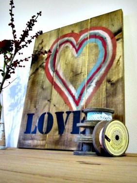 Dřevěný vintage obraz