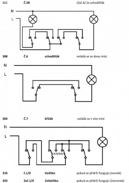 Schéma zapojení vypínačů