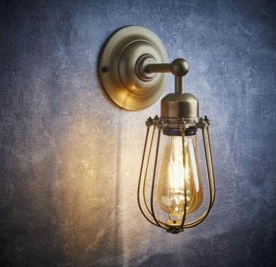 Antik mosaz industriální svítidlo