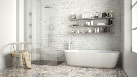 Luxus jménem industrialní a vintage styl v koupelně