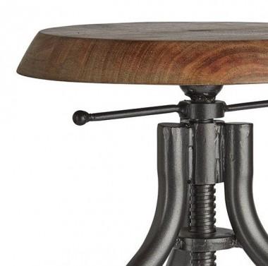 Industriální barová židle s nastavitelnou výškou - detail