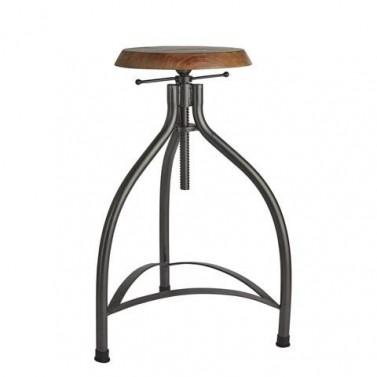 Industriální barová židle s nastavitelnou výškou.