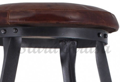 Industriální barová židle v průmyslovém retro stylu - Kožená - 67cm - Detail