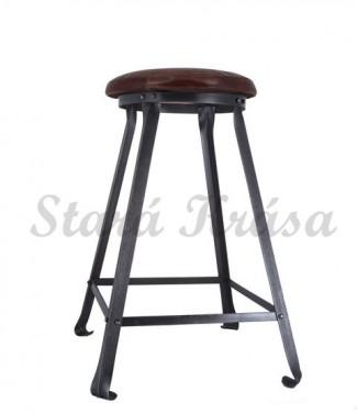 Industriální barová židle v průmyslovém retro stylu - Kožená - 67cm