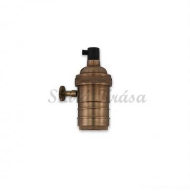 Kovový držák s paticí E27 - starožitný mosaz